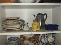 CHINA & DISHES IN SHELVES, COPPER KETTLES,