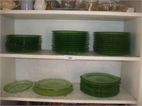 GREEN DEPRESSION DISHES (49 TOTAL)