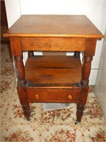 PINE 2 TIER SINGLE DRAWER STAND