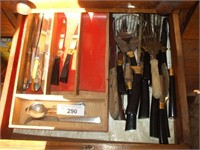 CONTENTS OF SIDEBOARD, KNIVES, PLASTIC WARE,