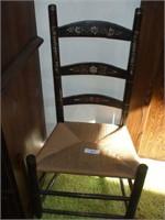 BLACK LADDER BACK CHAIR W/ RUSH SEAT