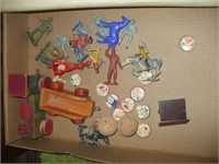 3 BOXES OF TOYS, PAPER GOODS, PHOTOS,