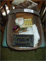 BASKET W/ CONTENTS, CHINA  ITEMS, ARTIST BOX, LAMP