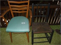 ROCKER W/ GOOD PATINA, AND MID-CENTURY CHAIR