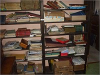 CONTENTS OF UPSTAIRS BOOKCASES, BOOKS, MAGAZINES