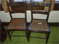 2 CANE SEAT CHAIRS (ONE W/ DAMAGE)