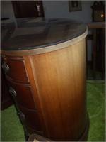 MAHOGANY KIDNEY-SHAPED DESK W/ GLASS TOP: