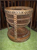 WOVEN WICKER STAND OR BASKET,