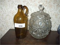 COVERED GLASS DISH AND AMBER BOTTLE