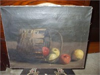 OIL ON CANVAS STILL LIFE PAINTING, UNSIGNED,