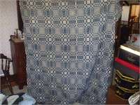 """WHITE AND BLUE BEDSPREAD 69"""" X 74"""" W/ DAMAGE"""