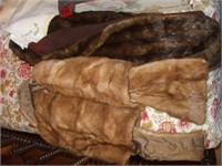 4 BOXES OF LINENS AND 2 LADIES FUR COATS