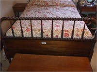 JENNY LIND DOUBLE BED W/ MATTRESS & BOX SPRING.