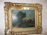 """OIL ON CANVAS PAINTING 12""""X 9"""" W/ GOLD FRAME,"""