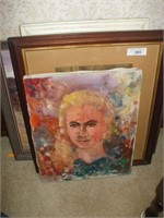 GROUPING OF OIL PAINTINGS, MIRROR