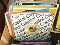 BOX OF 45 RECORDS, COVERS AND BOXES