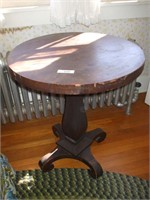MAHOGANY ROUND TOP EMPIRE STYLE STAND
