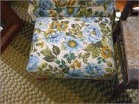 FLORAL MATCHING CHAIR AND FOOTSTOOL W/ RUSH SEAT