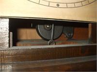 OAK CASE GRANDFATHER CLOCK W/ PAPER FACE,