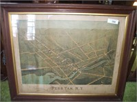 FRAMED PENN YAN MAP, 1874, SOME WATER DAMAGE,