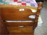 MAPLE SINGLE BED W/ MATTRESS AND BOX SPRING