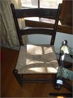 2 RUSH SEAT CHAIRS W/ LUGGAGE RACK
