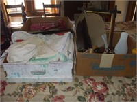 2 BOXES OF LINENS, HAT RACK, LAMP PARTS, QUILT