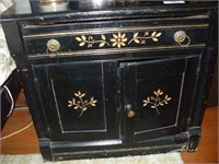 VICTORIAN ERA PAINTED BLACK WASH STAND W/ LAMP