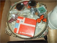 "BOX OF COLLECTIBLES """"LUCKY STRIKE "" TIN, GLASSES,"