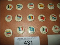 36 FLAGS OF  THE WORLD PINBACKS 1895-1900