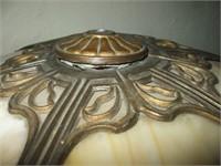 SLAG GLASS PANEL LAMP, W/ CAST BASE, NO MARKING,