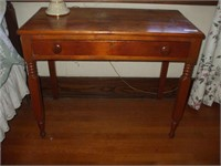 "PINE SINGLE DRAWER TABLE, 35''X18""X28"" TALL W/LAMP"