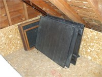 GROUPING OF WOOD SHUTTERS (8) IN ATTIC