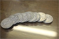 Lot of 11 Walking Liberty Silver Half Dollars