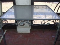 GLASS TOP WROUGHT IRON PATIO TABLE: