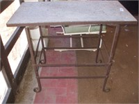 SLATE TOP WROUGHT IRON PATIO TABLE,