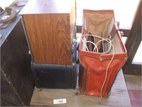 PATIO TABLE W/ SUITCASE, RADIO, MISC