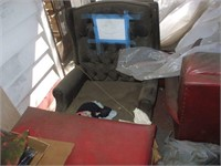GROUPING OF USED FURNITURE COUCH, CHAIRS, TABLE,