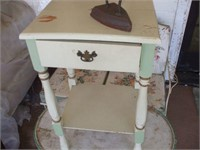 GREEN WICKER PATIO TABLE, CREAM SINGLE DRAWER