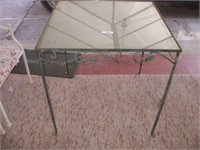 """WROUGHT IRON / GLASS TOP TABLE 30 1/2""""X30 1/2""""X32"""""""