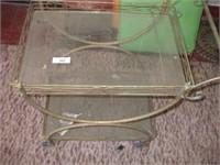 PATIO GARDEN CART (DAMAGED GLASS ON BOTTOM)