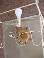WHITE WROUGHT IRON PATIO CART W/ NAUTICAL LAMP