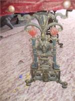 CAST IRON GARDEN BENCH W/ RED VELVET  TOP