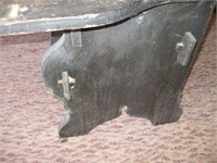 """12' 10"""" WOODEN BENCH W/ BITE MARKS ON SIDE"""