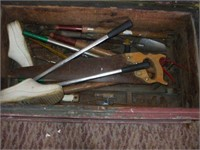 WOODEN TOOL BOX W/ GARDENING ITEMS / TOOLS