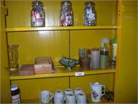 CONTENTS OF WOODEN STEPBACK CUPBOARD, MATCHES,