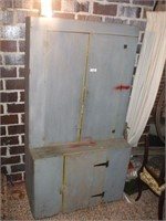 STEPBACK CUPBOARD, GREY AND YELLOW PAINT,