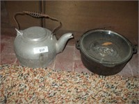 ALUMINUM TEA KETTLE, CAST IRON POT W/ GLASS LID