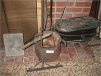 GROUPING OF FIREPLACE TOOLS, CAST IRON KETTLE,