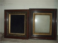 3 WALNUT AND GOLD GILDED FRAMES